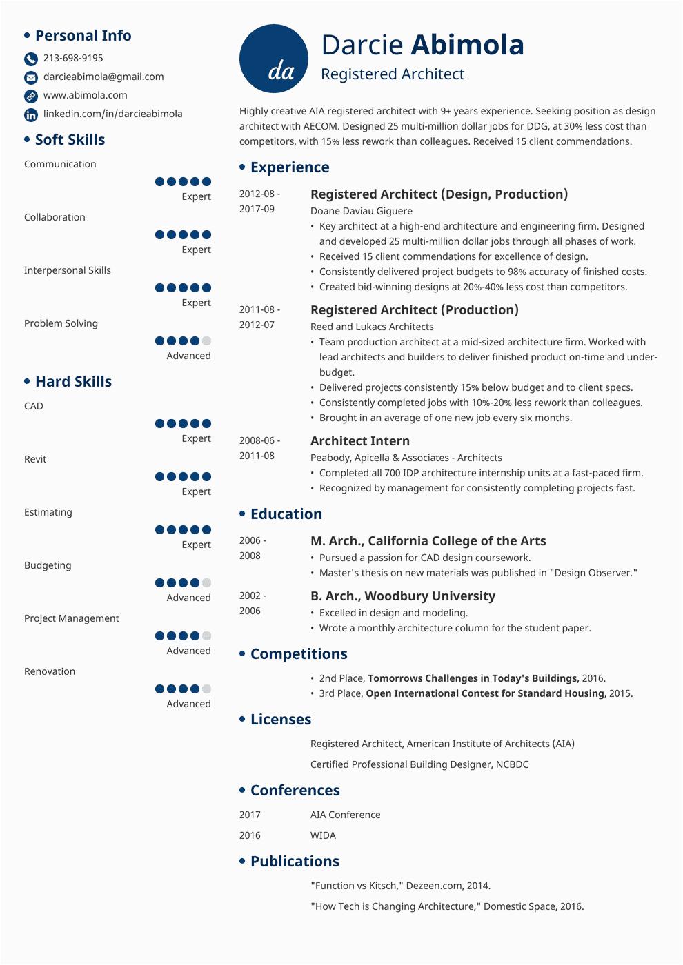resume for fresh graduate architect