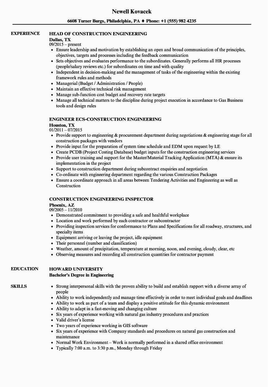 Sample Resume Of Civil Engineer In Building Construction Engineer Construction Resume