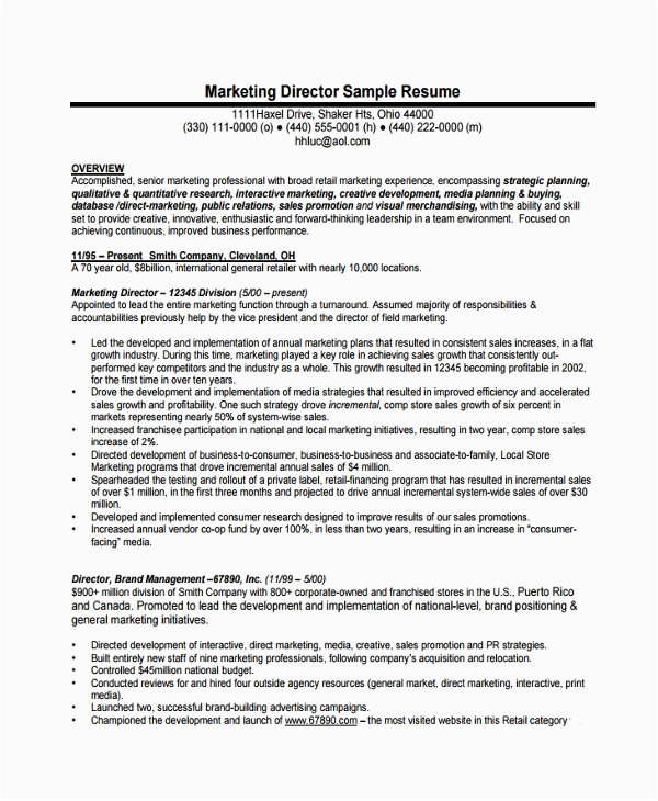 Sample Resume Of Director Of Operations Free 7 Sample Director Of Operations Resume Templates In