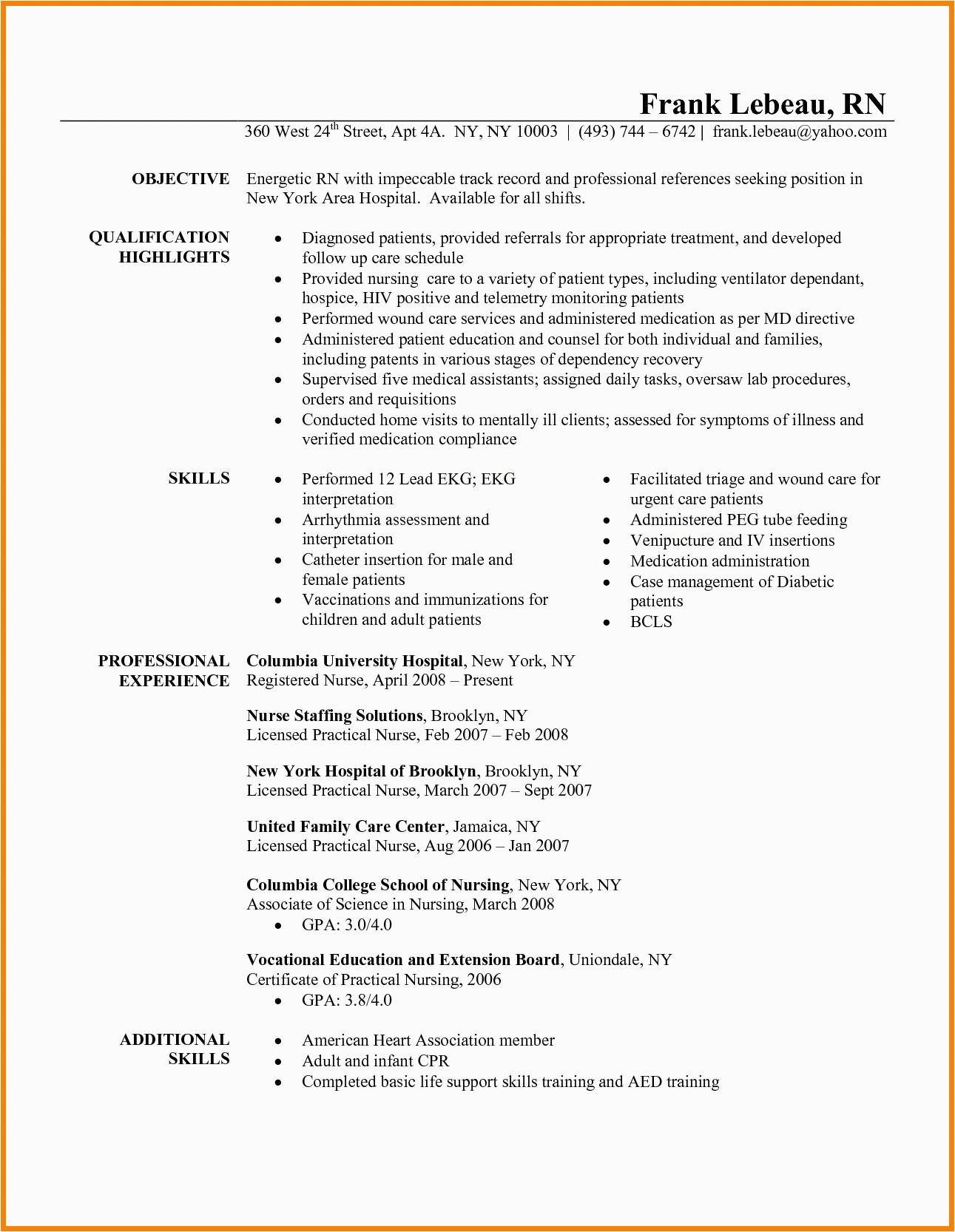 7 telemetry nurse resume