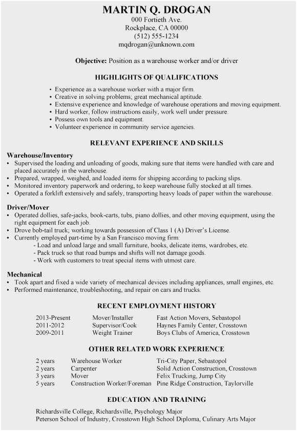mover resume