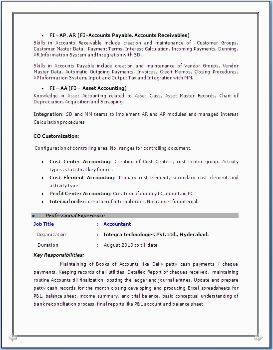 Sap Abap Sample Resume 3 Years Experience Sap Fico Resume 3 Years Experience