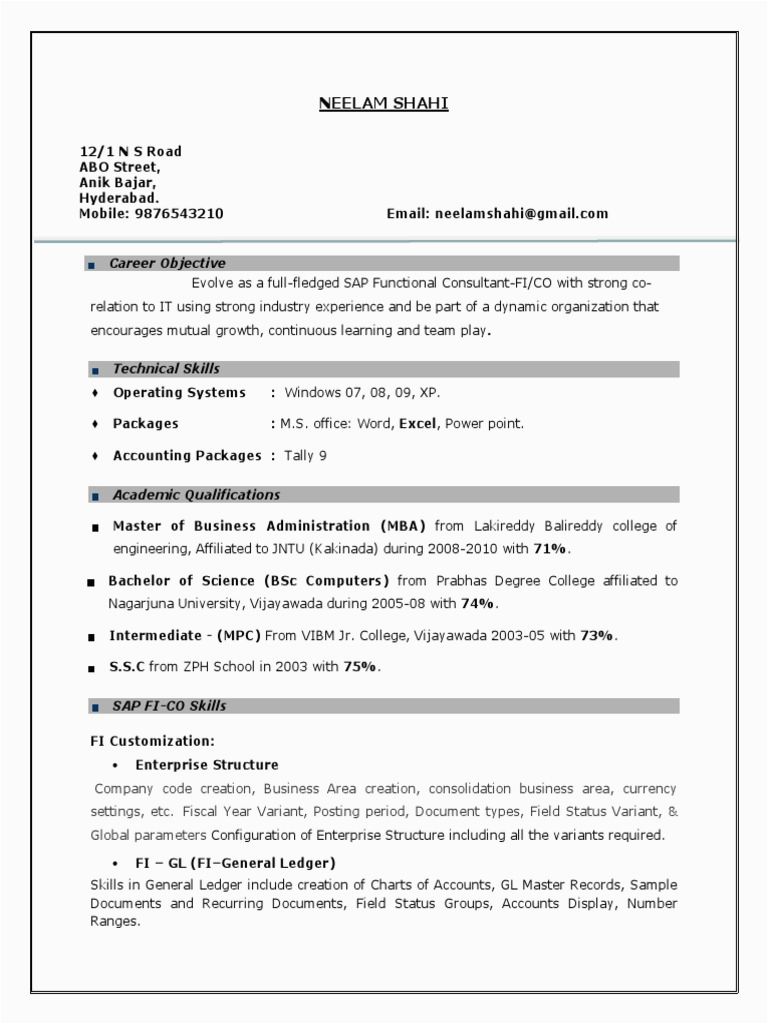 Sap Basis Sample Resume for 3 Years Experience Sap Fico Resume 3 Years Experiencecx