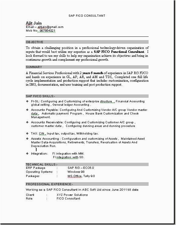 sap mm fresher resume format