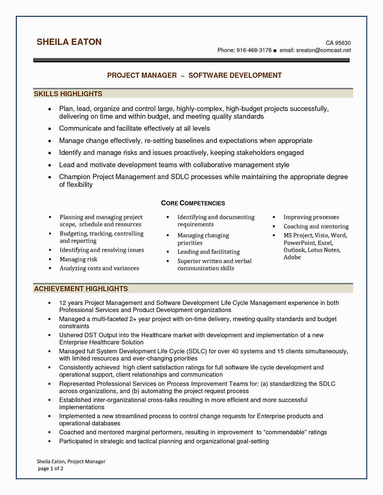 Software Development Project Manager Resume Sample software Project Manager Resume