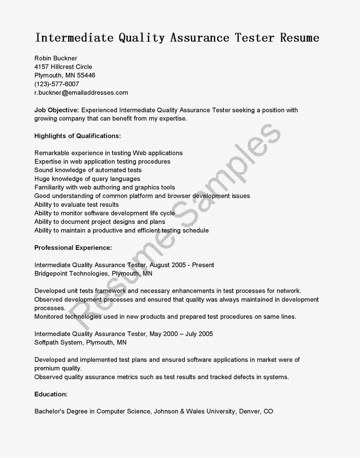 software testing resume samples for 1 year experience