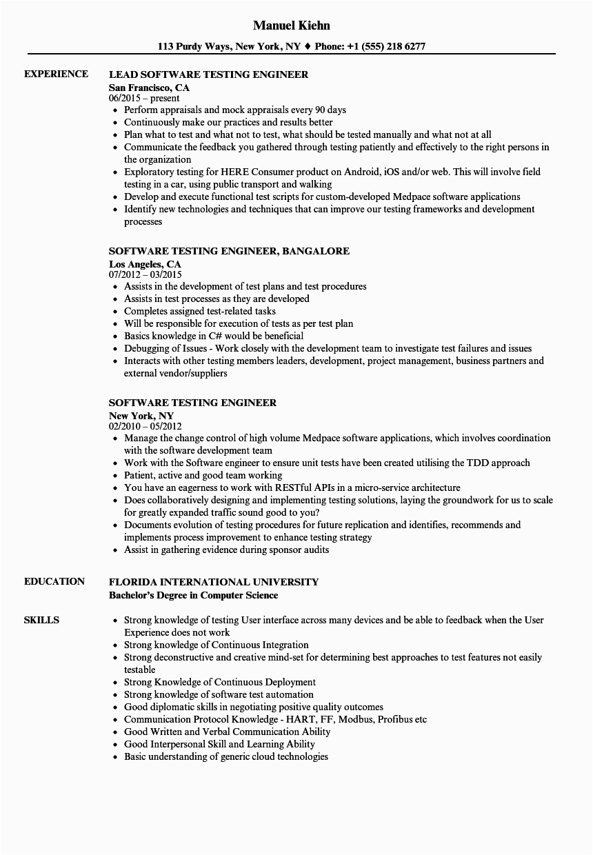 Software Testing Resume Samples for 3 Years Experience 10 software Testing Resume Samples for 3 Years Experience