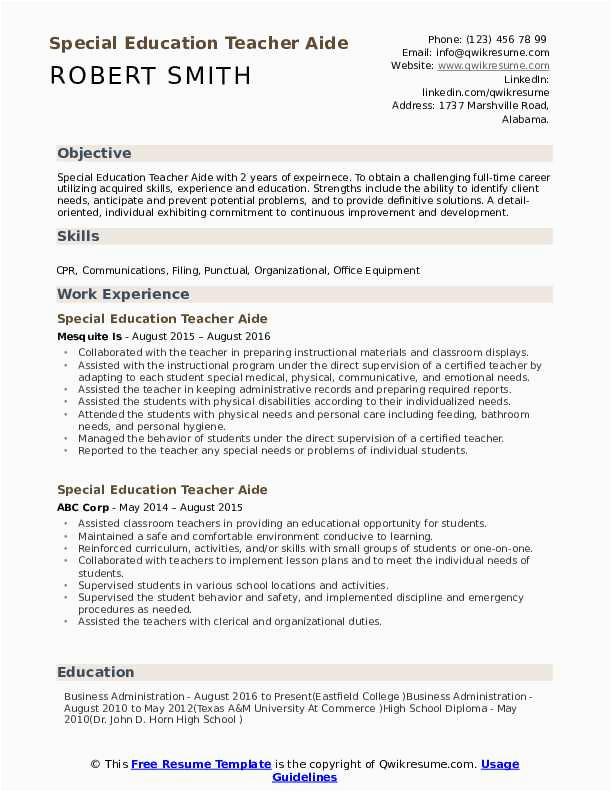 special education teacher aide