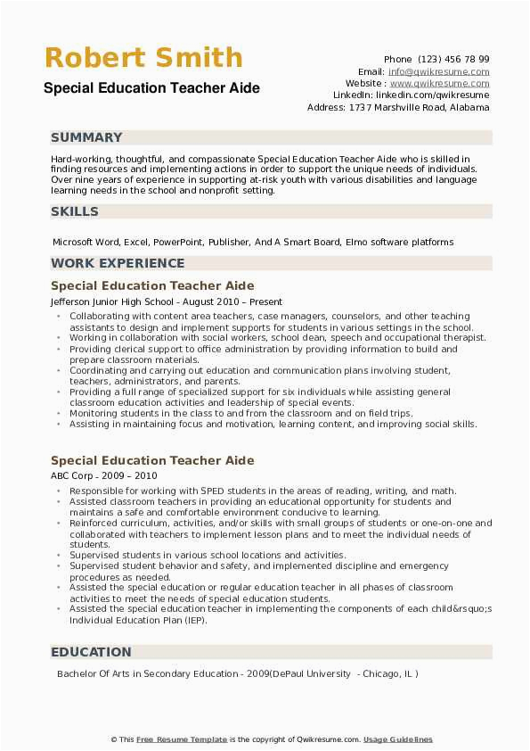 Special Education Teacher Aide Resume Samples Special Education Teacher Aide Resume Samples