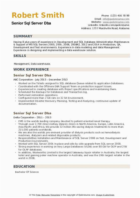 Sql Dba Sample Resumes for Experienced Senior Sql Server Dba Resume Samples