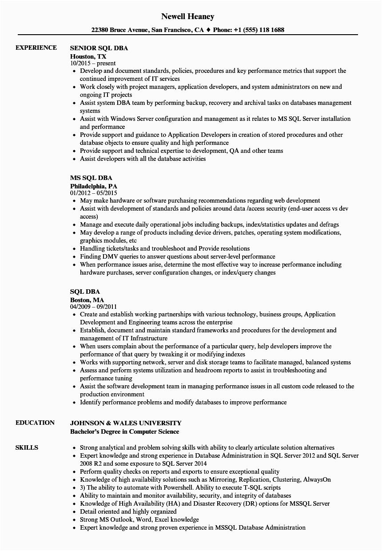 sql dba resume sample
