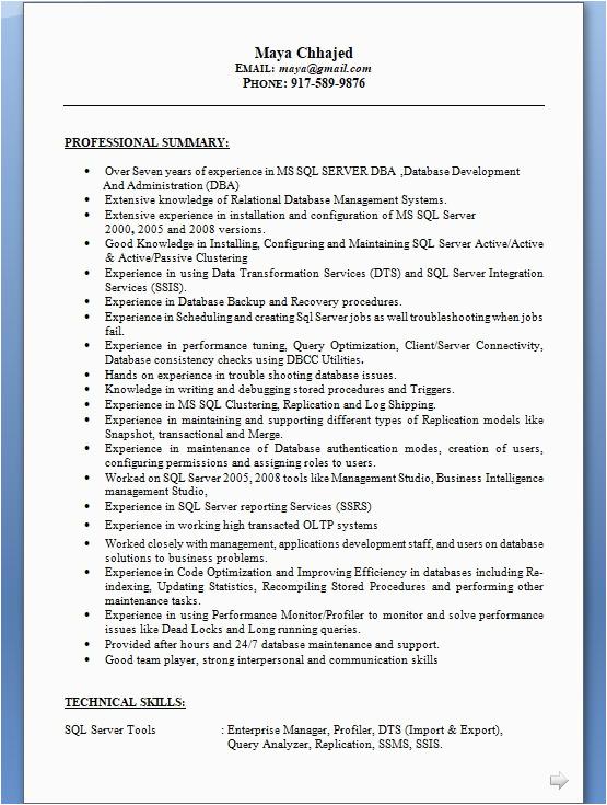 sql dba sample resume format in word