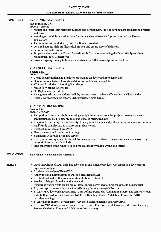 Vba Developer Macros Excel Sample Resume Excel Vba Developer Resume Samples