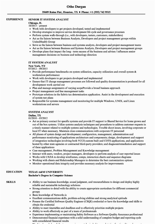 system analyst resume sample