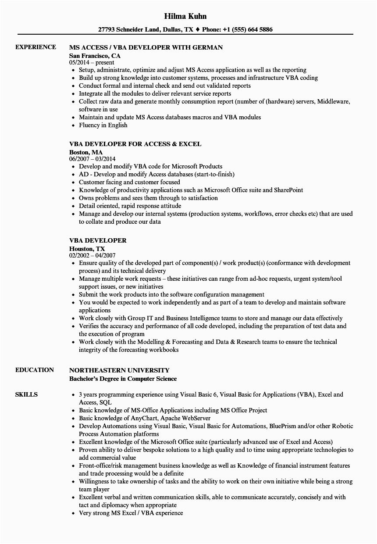 vba developer resume sample