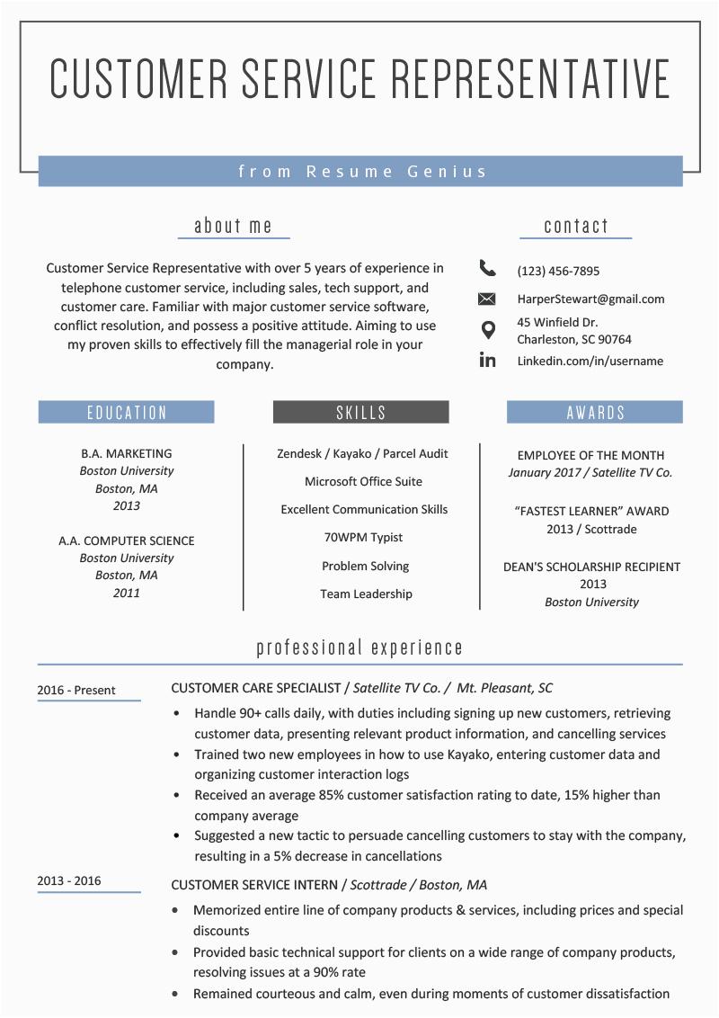 customer service representative resume example