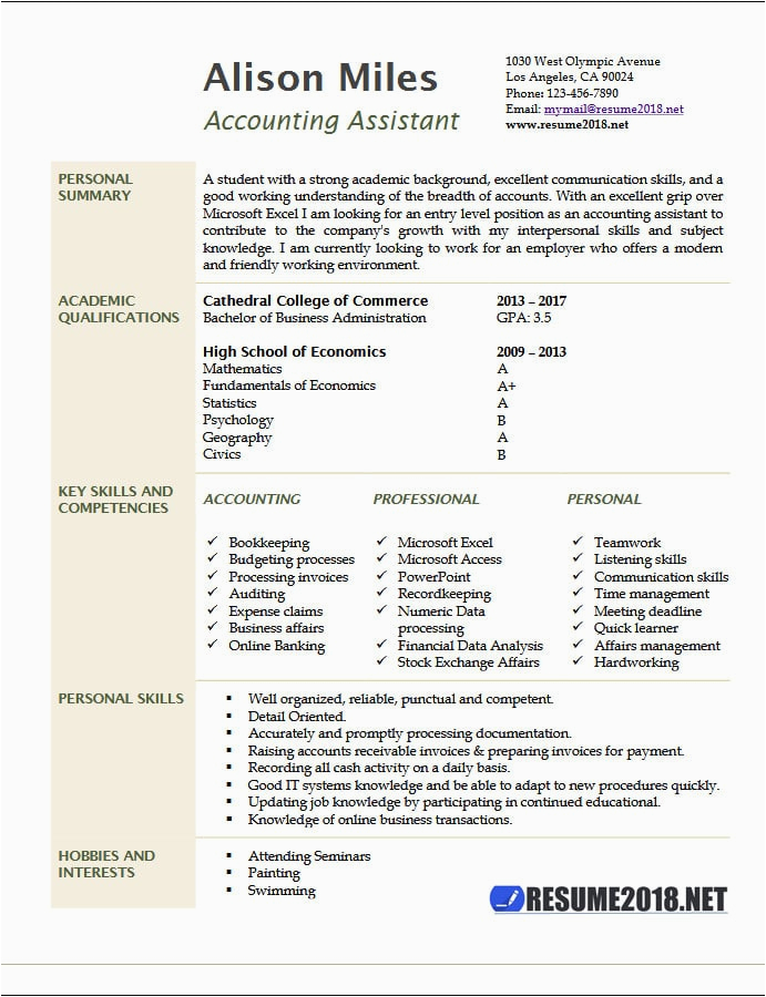 accounting assistant resume example 2018