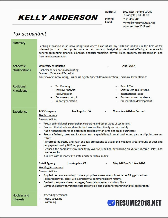 tax accountant resume example 2018