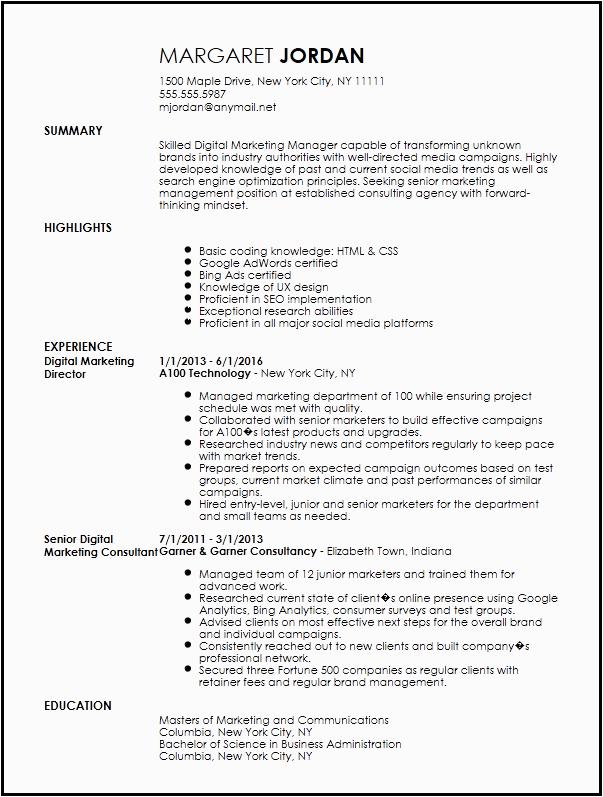 digital marketing resume template free