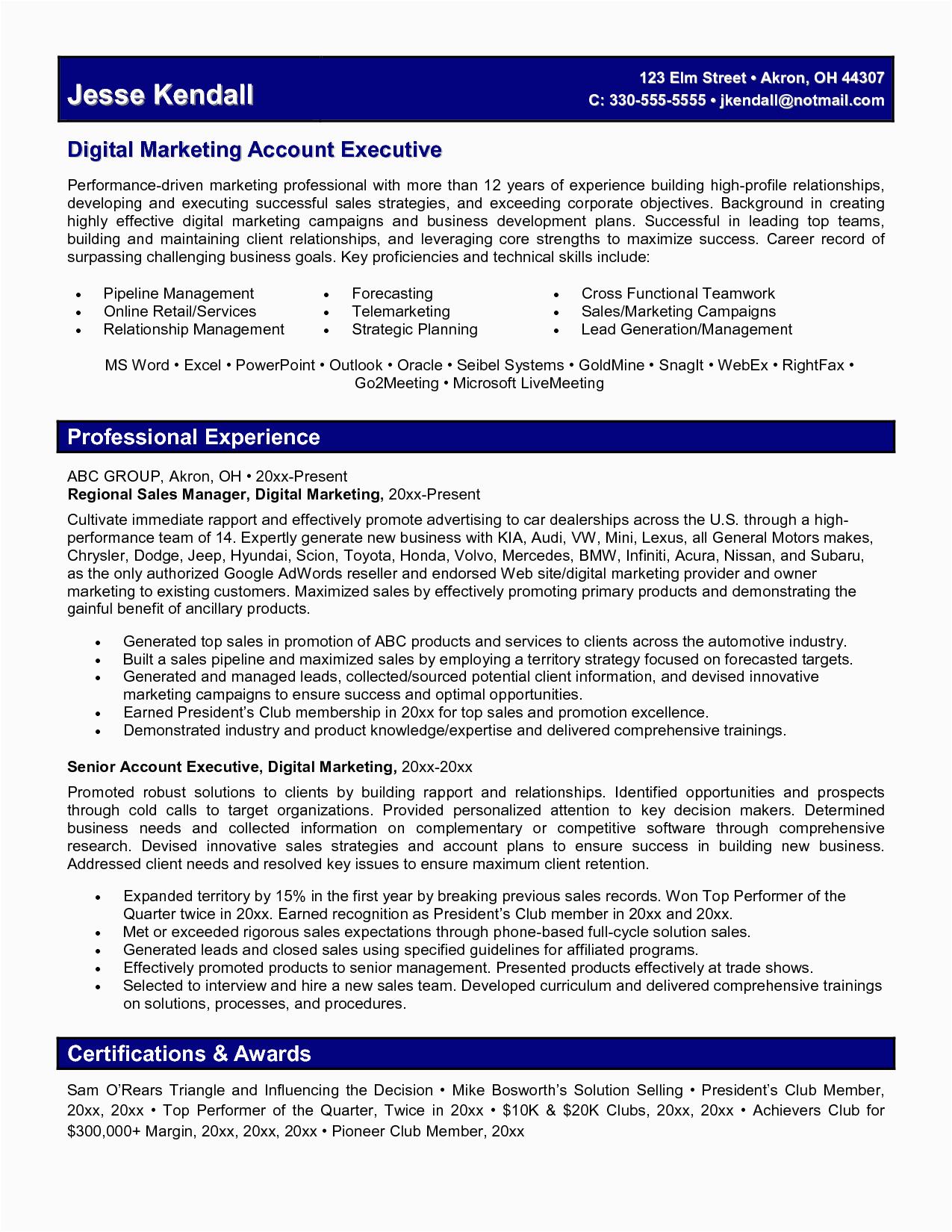 digital marketing resume 7306