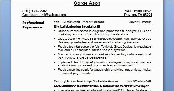 digital marketing specialist sample