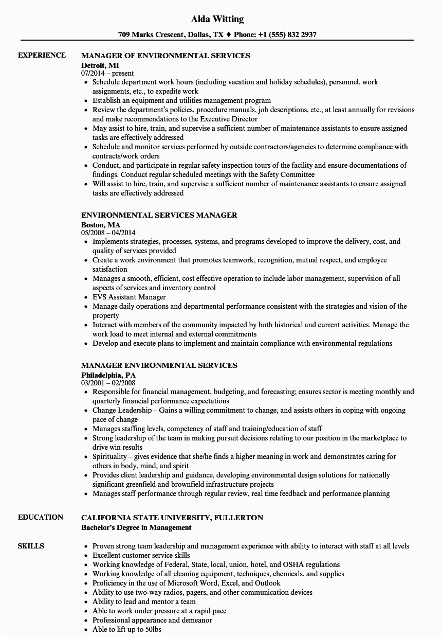 environmental services manager resume sample