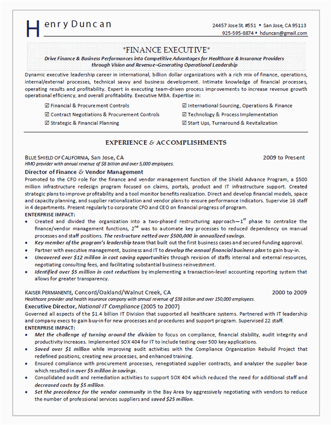 Director Of Finance and Administration Resume Sample Director Of Finance Resume Example