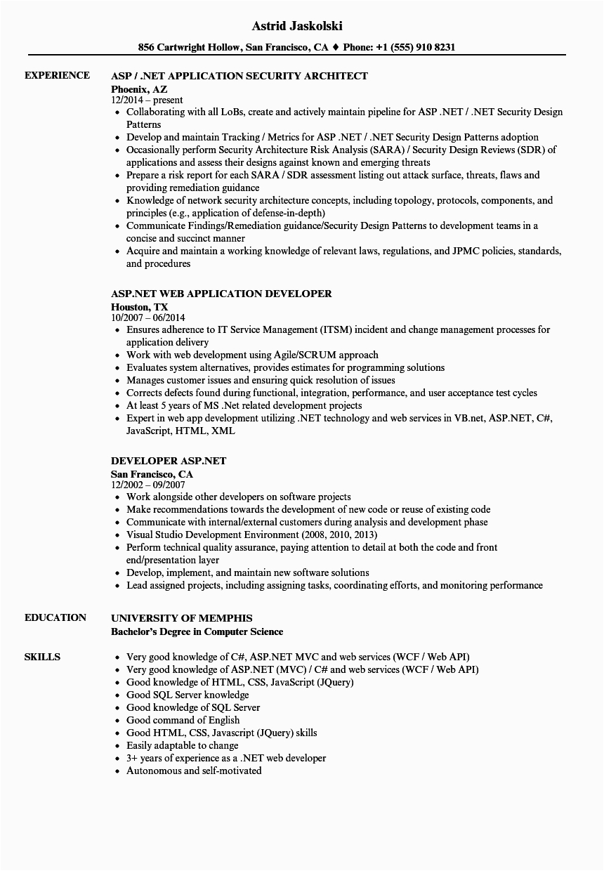 asp net resume sample