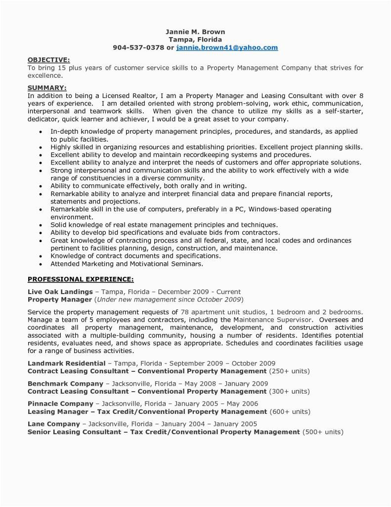 entry level property management resume samples