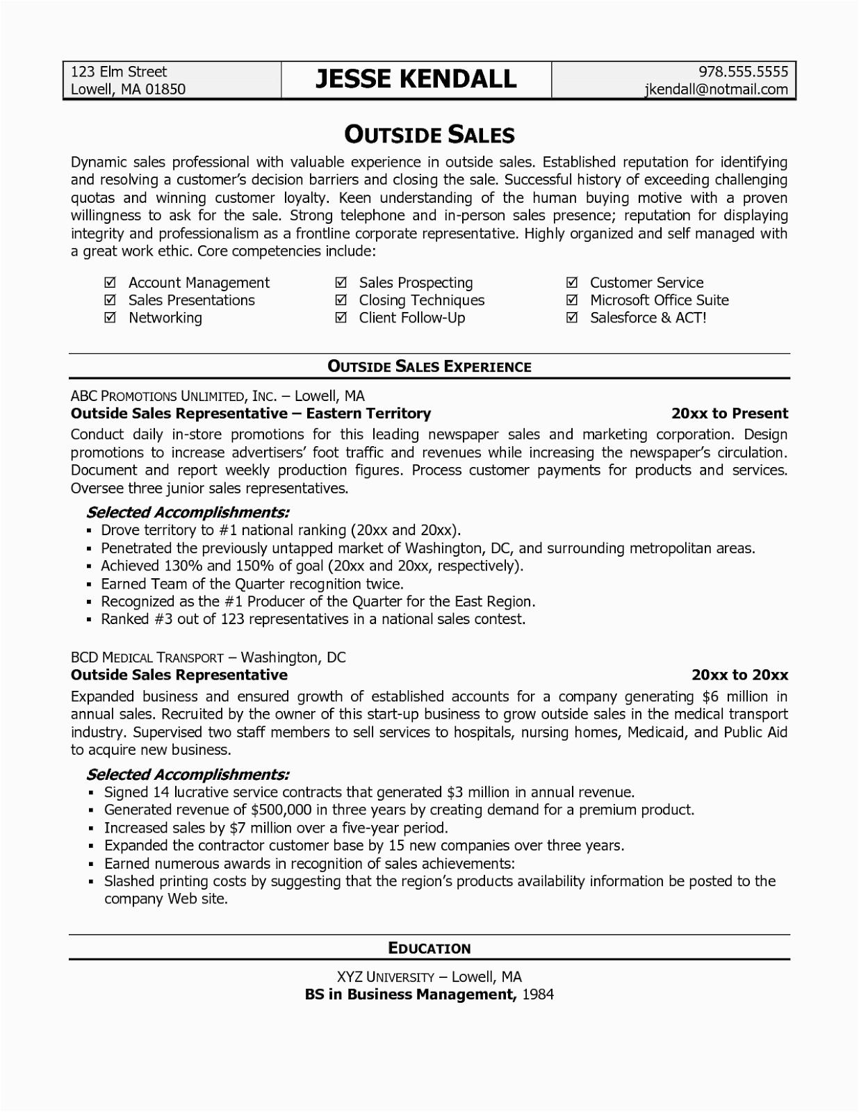sales resume templates free