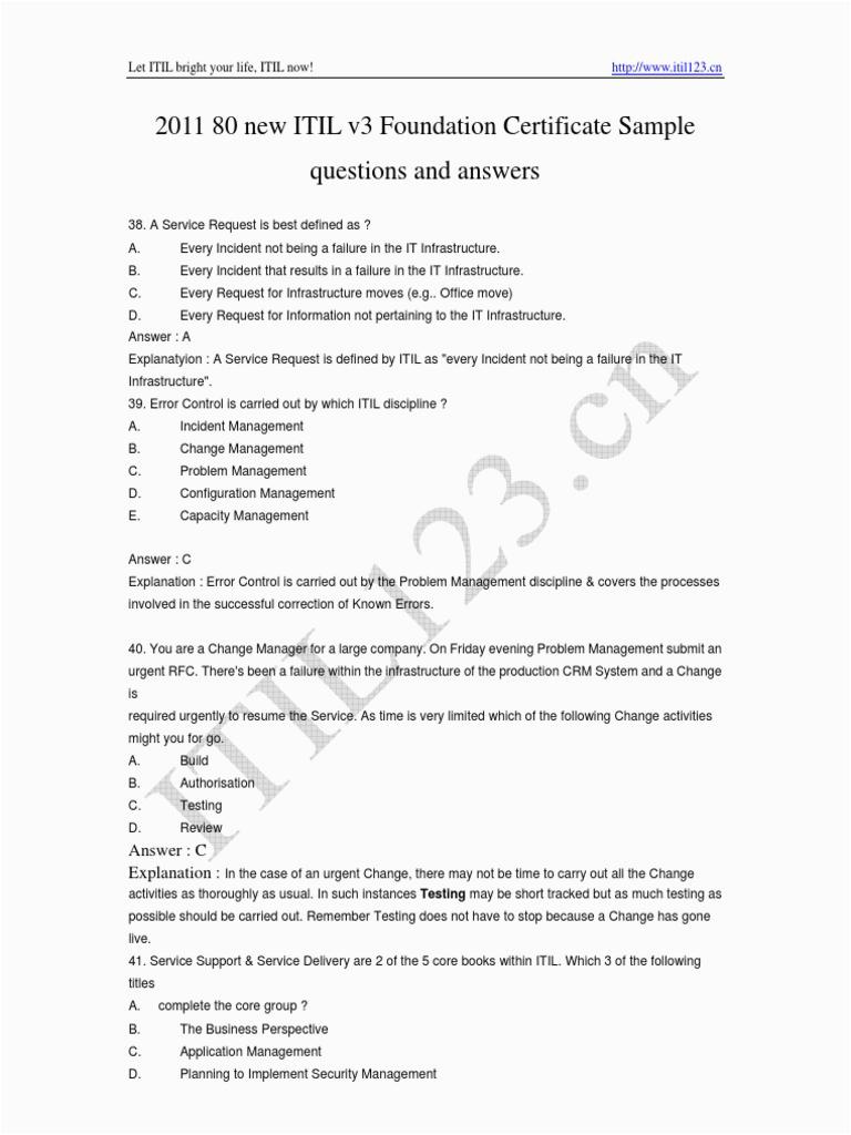 2011 88 ITILv3 Exam Prep Questions PDF