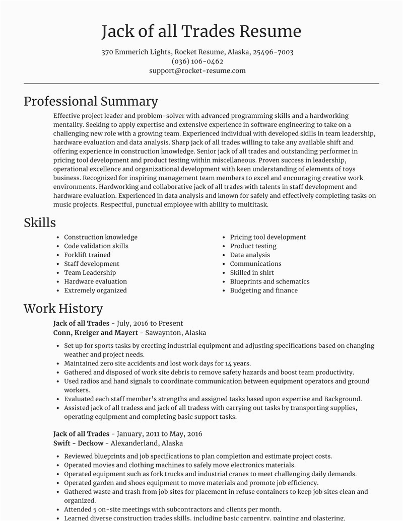 Jack Of All Trades Resume Sample Jack Of All Trades Resumes