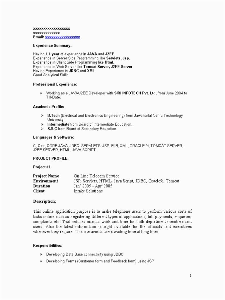 1 Experience Java Resume 9