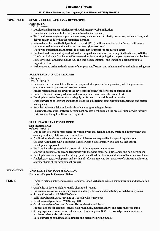 Java Full Stack Developer Resume Sample Java Full Stack Developer Resume Sample