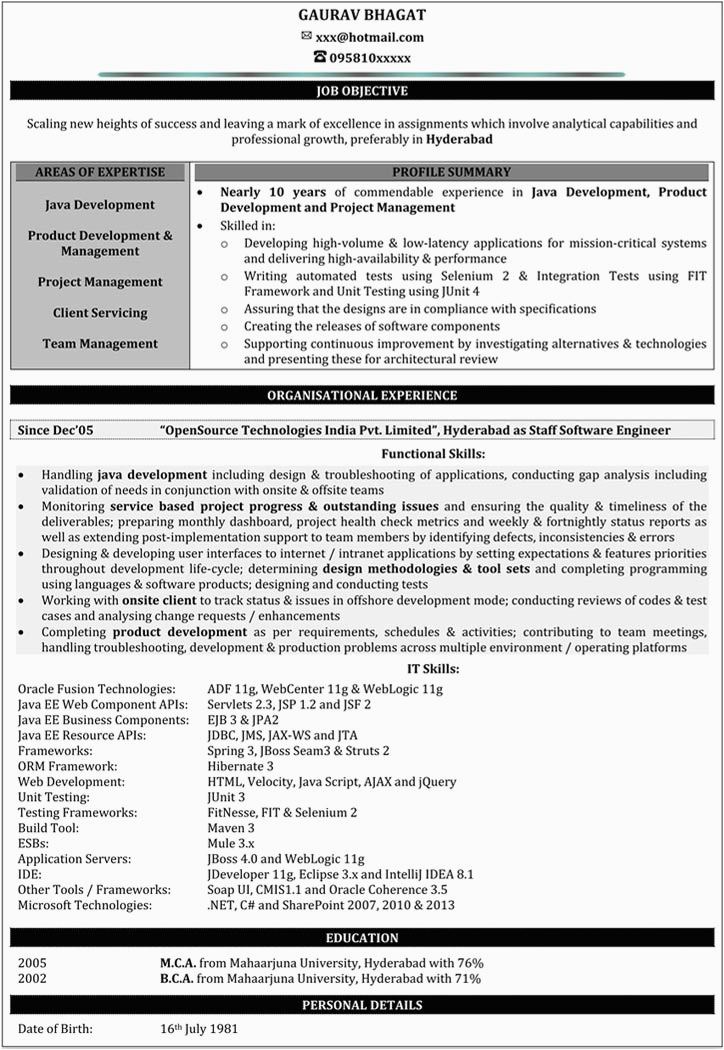 Java Sample Resume 10 Years Experience 10 Years Experience Resume Ibrizz