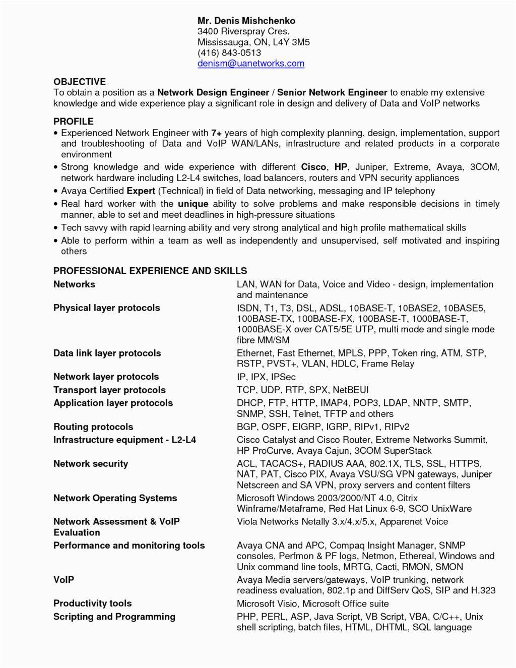 network engineer resume sample for fresher