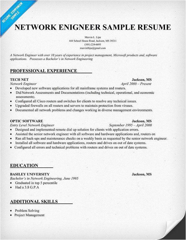 entry level network engineer resume