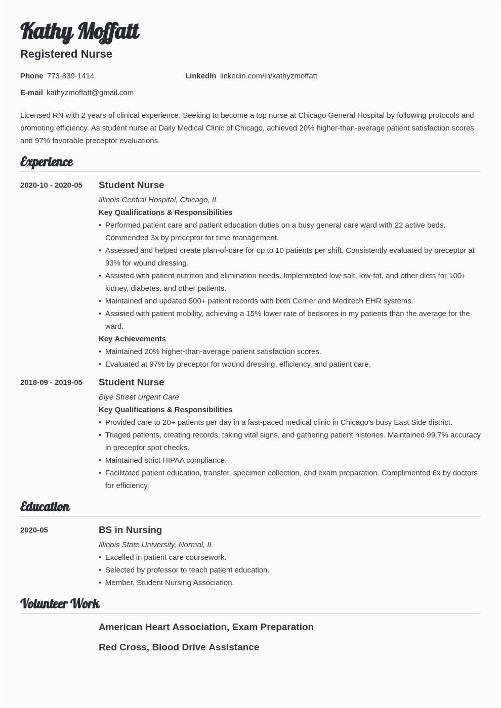 new grad nursing resume example