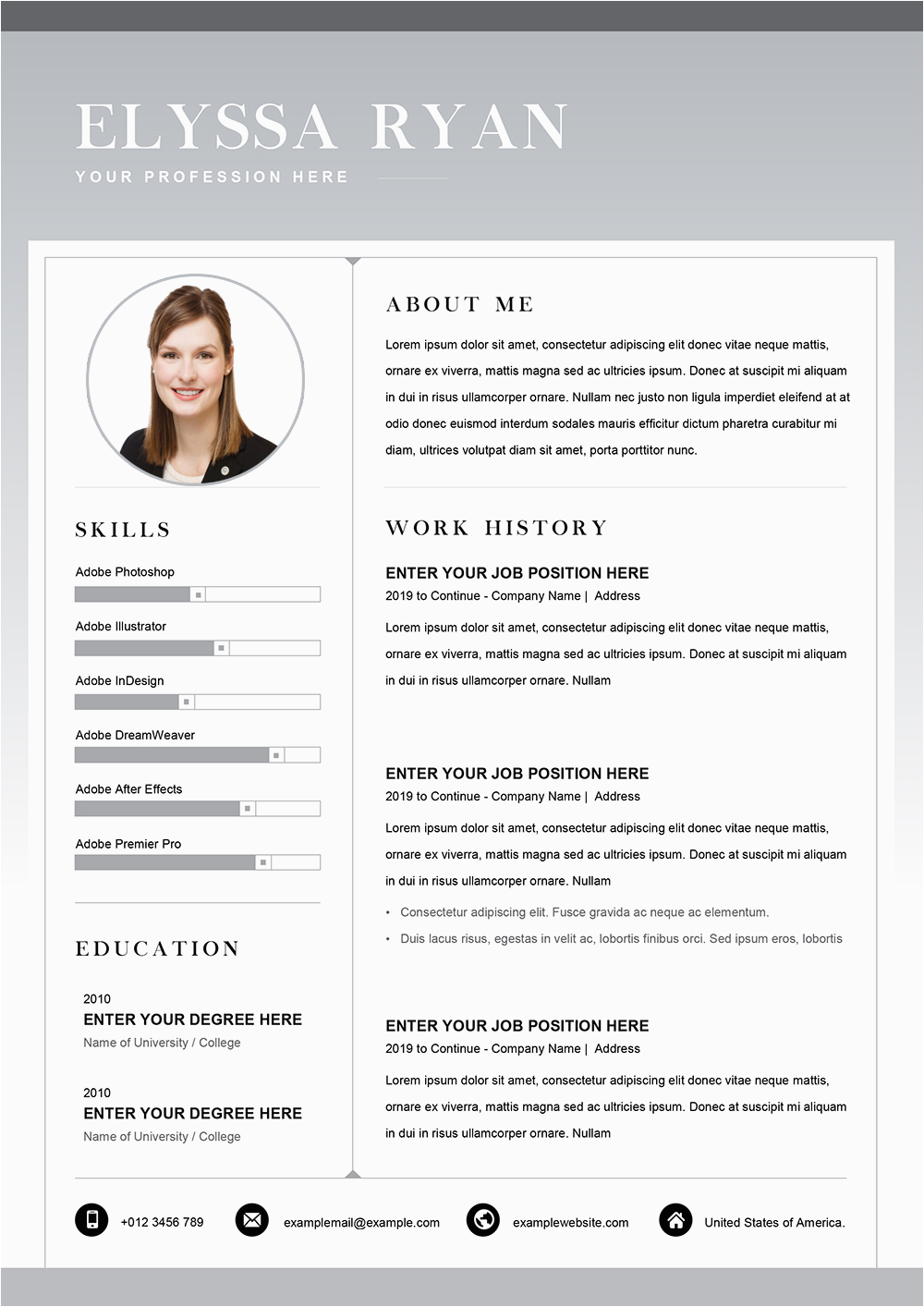 job application resume template