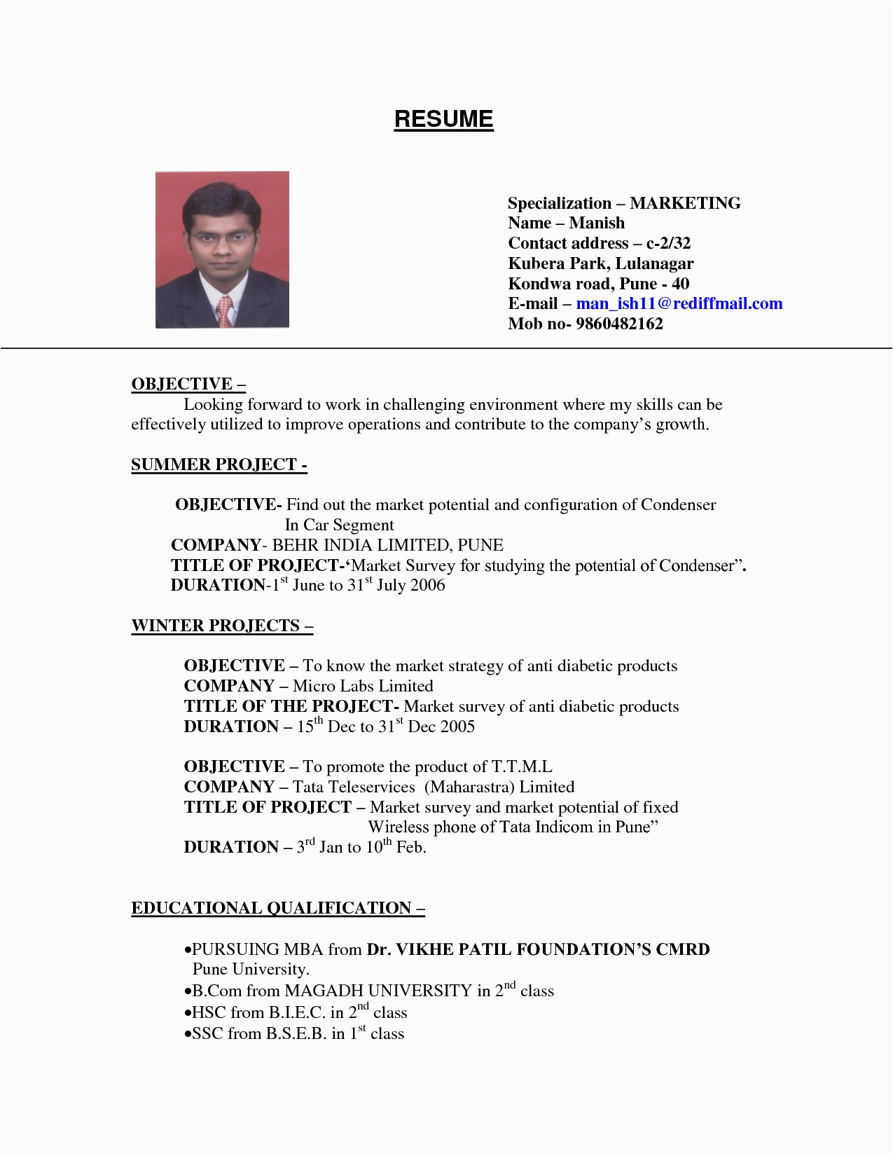 sample of cv for job application