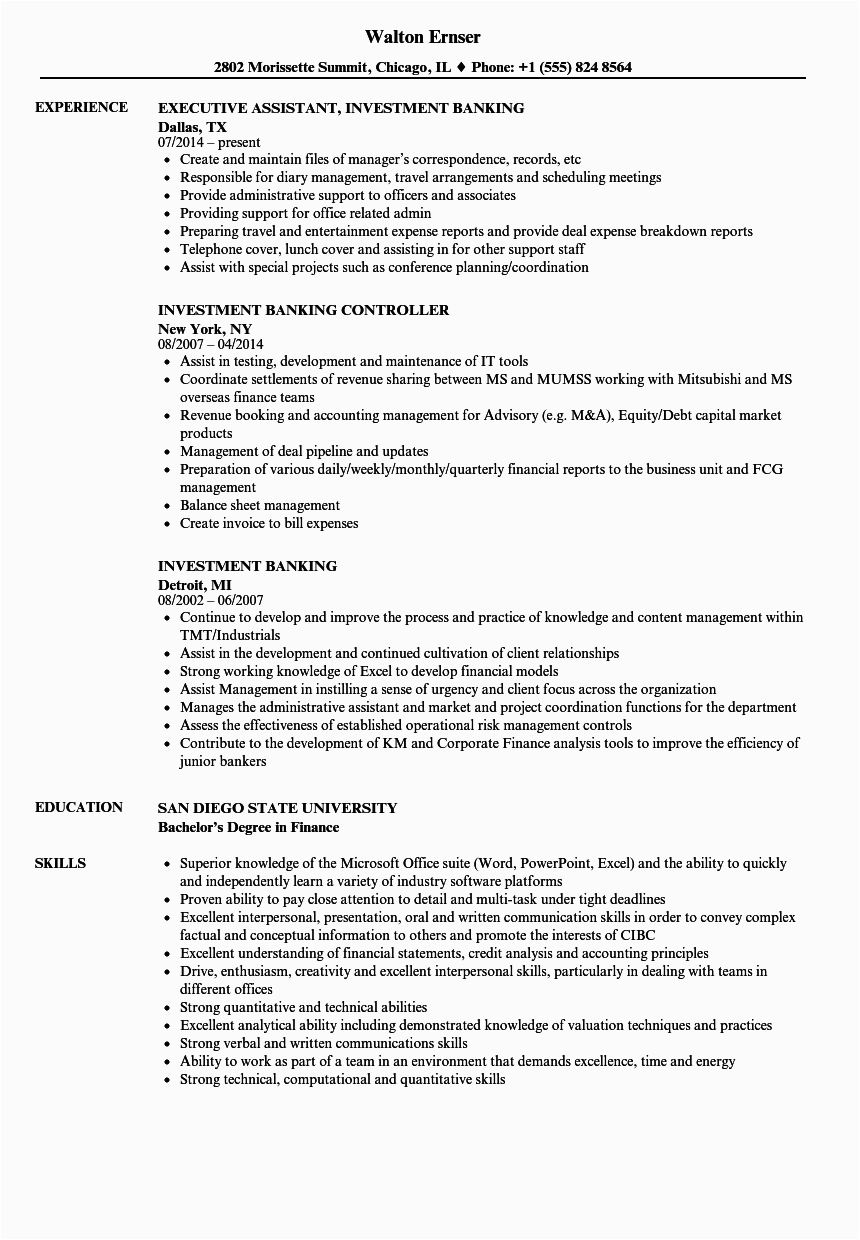banking and finance resume examples