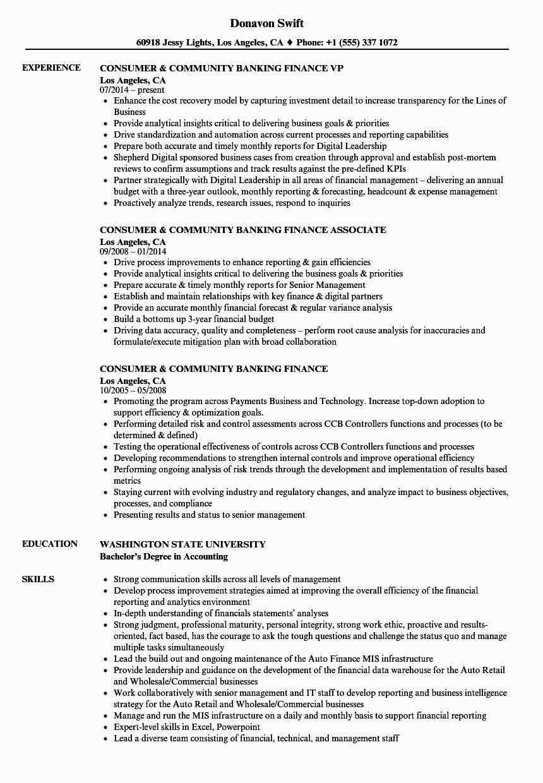consumer munity banking finance resume sample