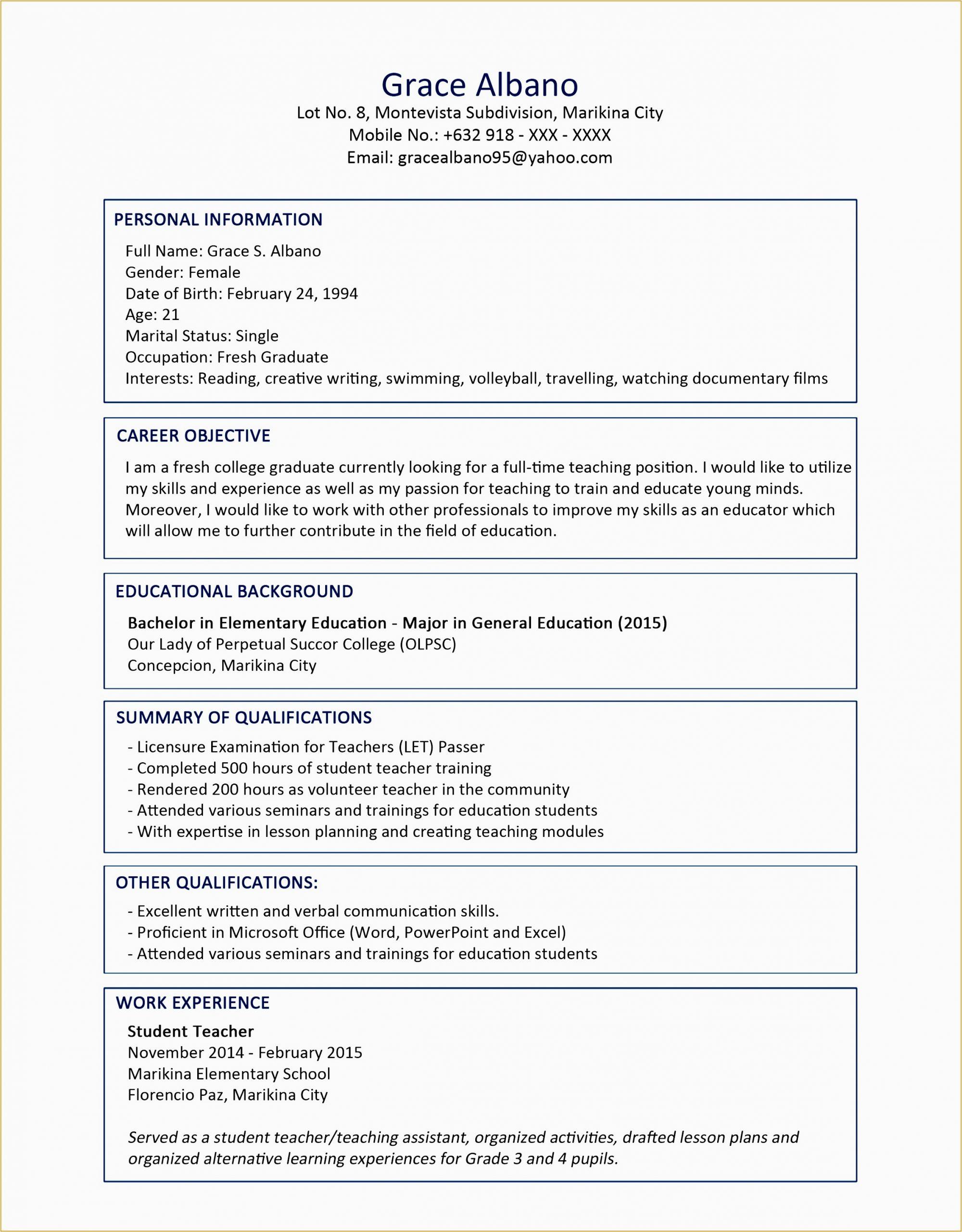 resume sample for fresh graduate k
