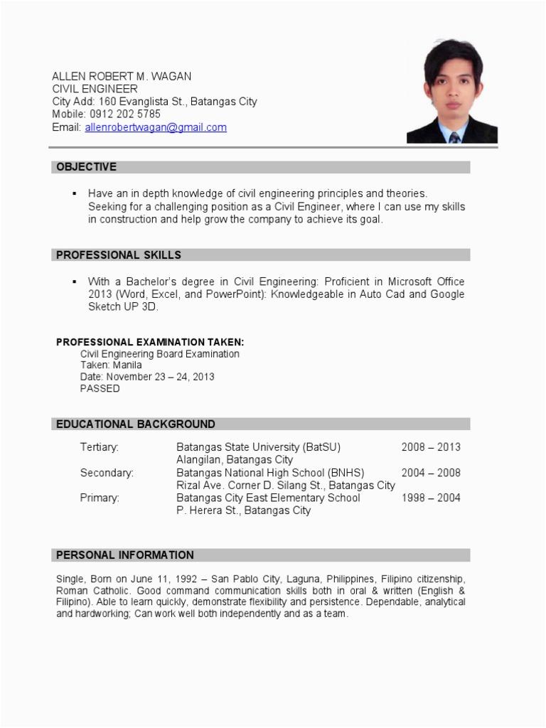 Sample Resume for fresh graduate