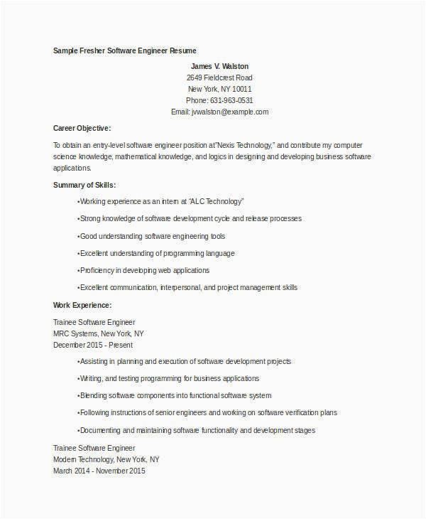 fresher engineer resume template