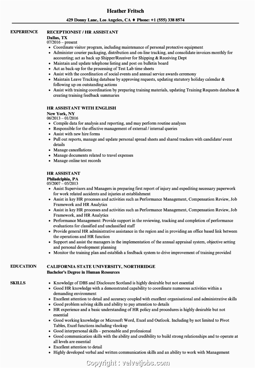 free human resources assistant resume