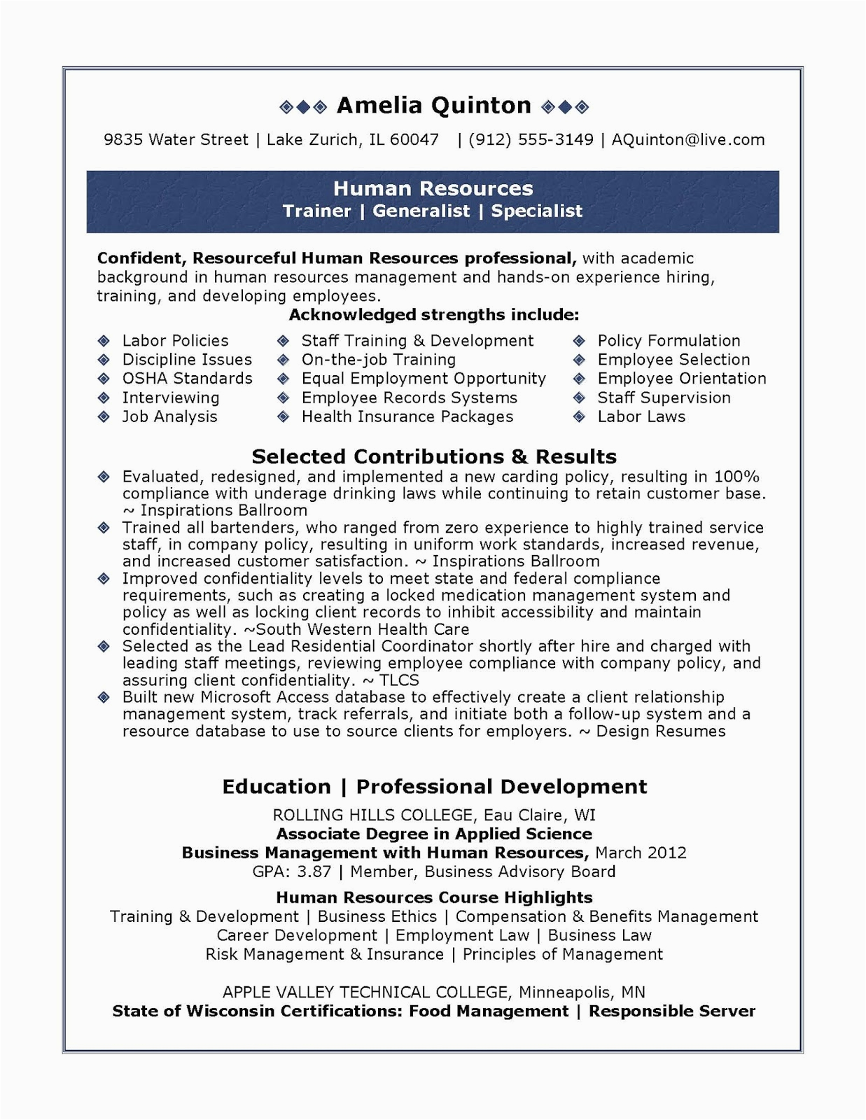Resume Sample for Human Resource Position Sample Human Resources Resume