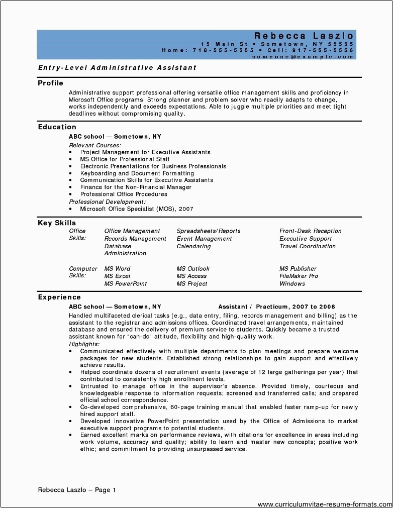 Resume Sample for Office assistant Position Resume for Fice assistant Position