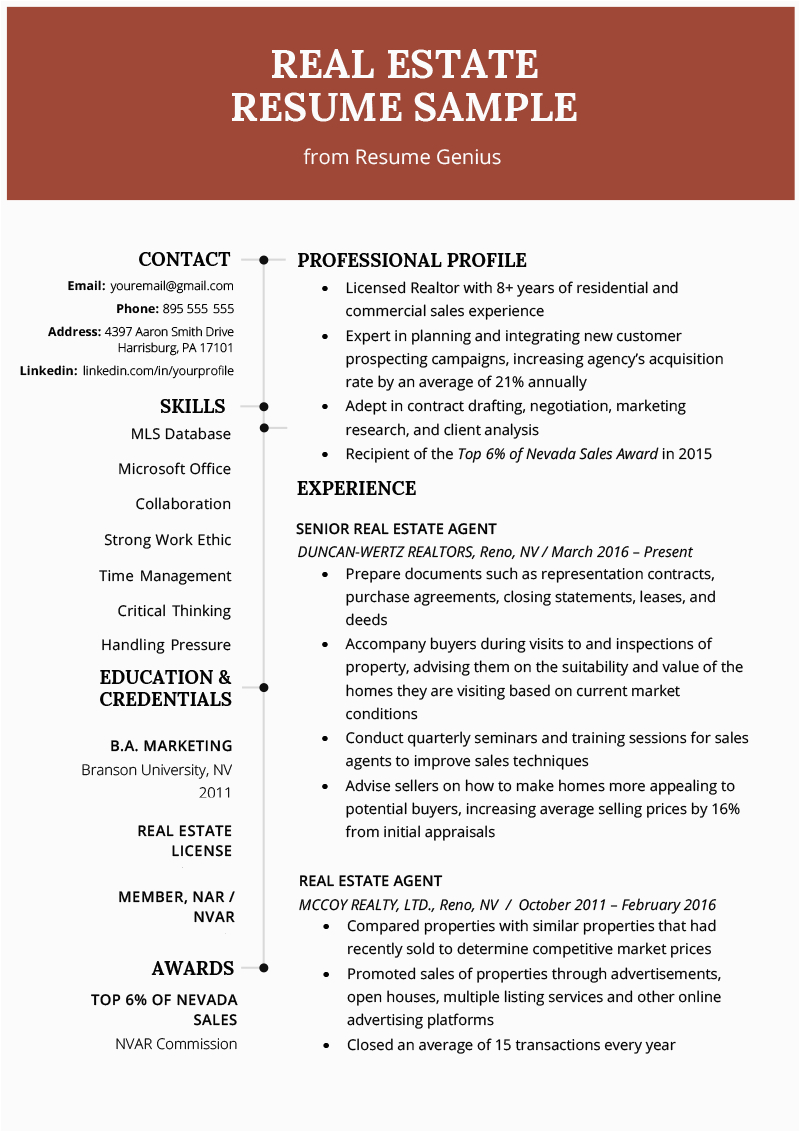 Resume Sample for Real Estate Agent with Experience Real Estate Agent Resume & Writing Guide