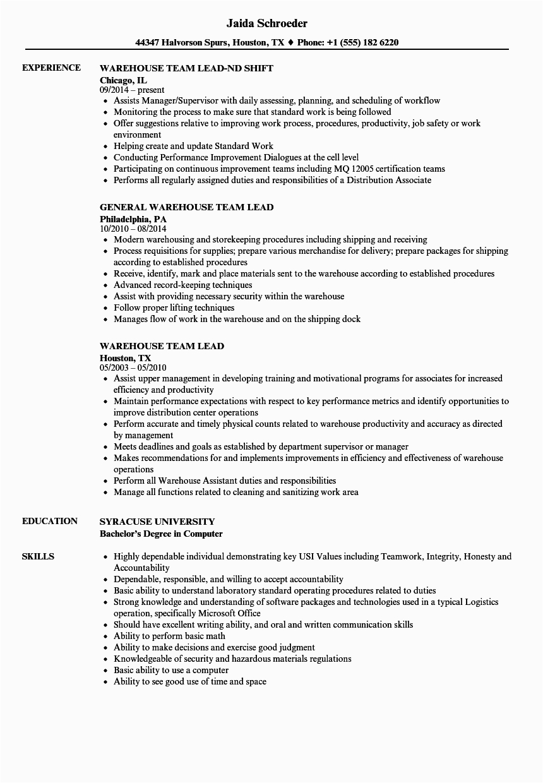 warehouse team lead resume sample